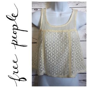 Free people knit ivory cropped lace tank top